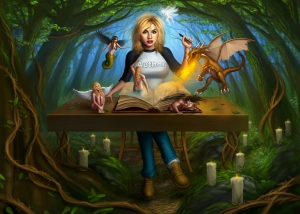 "Author- Vashti- and -her -characters- from- her- novels- ""Lilith""- and- ""Dracul"""