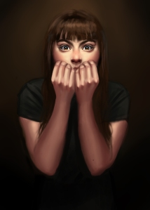 Terrified by what she heard, and felt and unable to see, Natasha panicked.