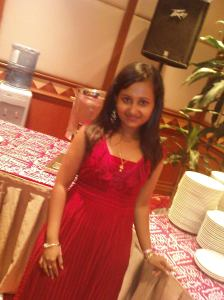 Jasveena, looking lovely in red.