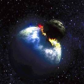Moon explodes and collides with the Earth