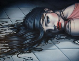 A-sexy-and-macabre-painting-of-a-girl-lying-dead-on-a-tiled-floor-by-sarah-Joncas-643x500