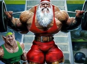 Santa Claus working out