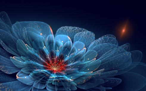 the-search-for-the-last-flower-art-flower-petals-sparkles-neon-blue-wide