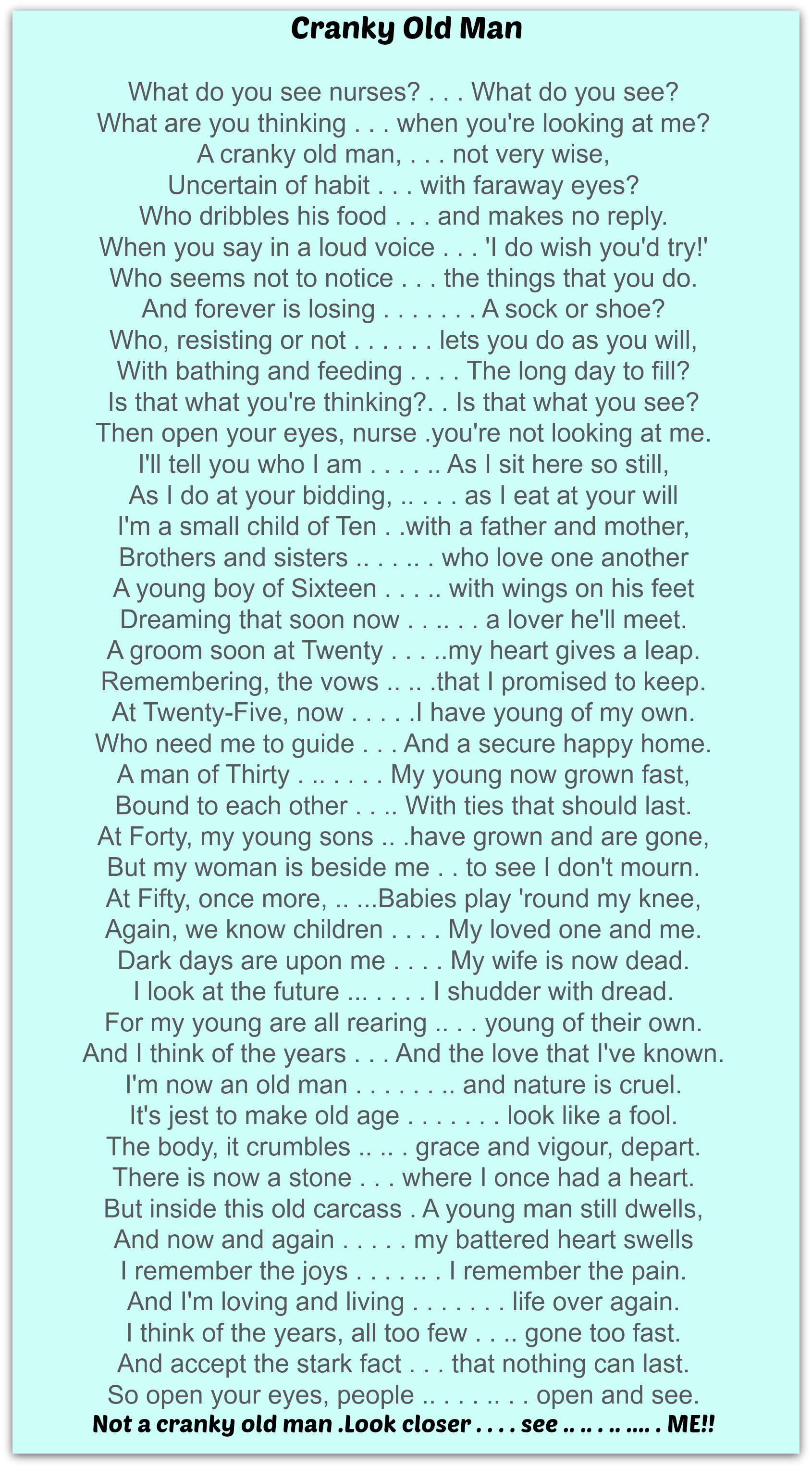 Old Man Poem 120