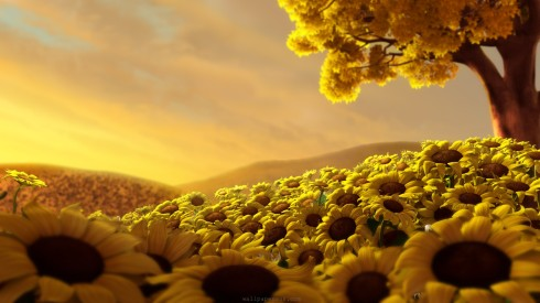 anime-nature-sunflowers-flowers-hills-petals-sunflower-Haiku-Friday-Vashti Q