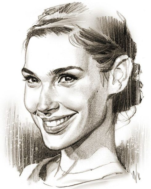 Gal Gadot-Chris Wahl-art-smile-sketch-Haiku_Friday-Vashti Q-instagram