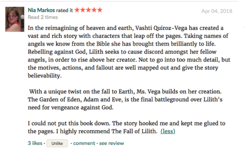 Nia Markos-Goodreads-novel-book_review-the fall of lilith-Vashti Quiroz Vega-fantasy angels series-Haiku_Friday