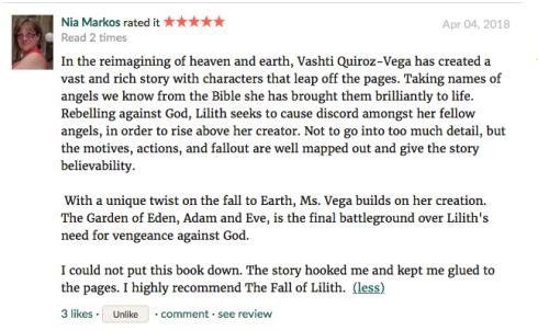 Nia Markos-Goodreads-novel-book_review-the fall of lilith-Vashti Quiroz Vega-fantasy angels series-Haiku_Friday